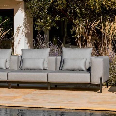 3 Seater Garden Sofa with Extension, Design in Aluminum and Fabric - Filomena