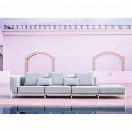 3 Seater Garden Sofa with Luxury Pouf in Aluminum and Fabric - Filomena