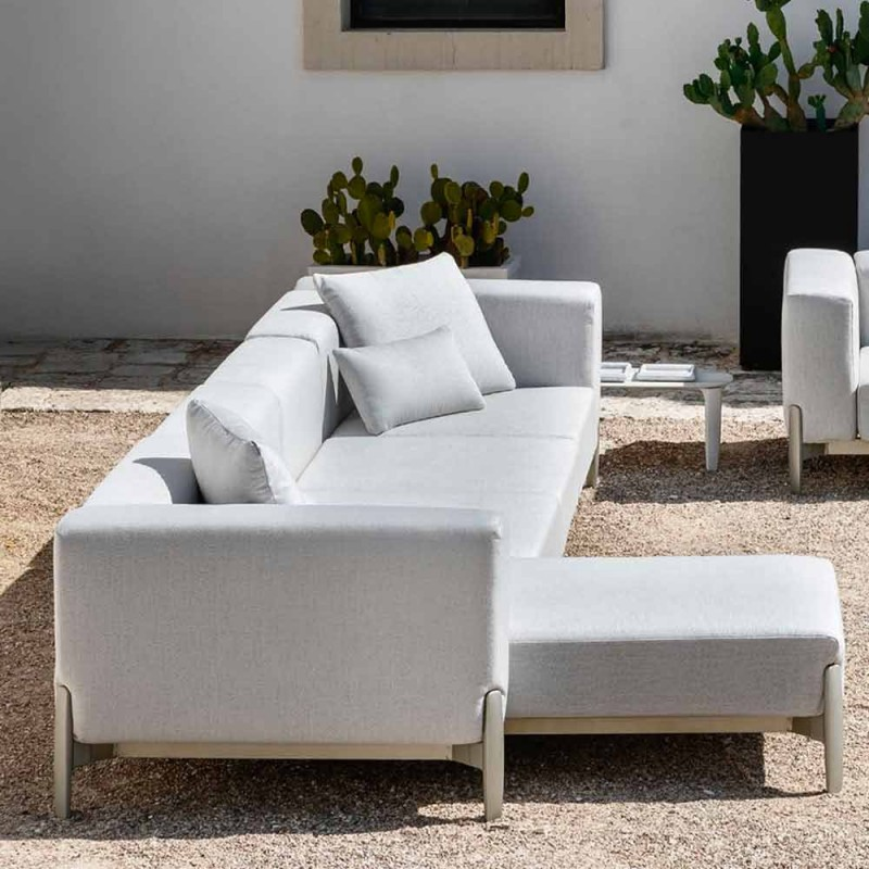 3 Seater Garden Sofa with Chaise Longue in Aluminum and Fabric - Filomena