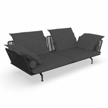 3 Seater Garden Sofa in Upholstered Fabric and Aluminum - Cruise Alu Talenti