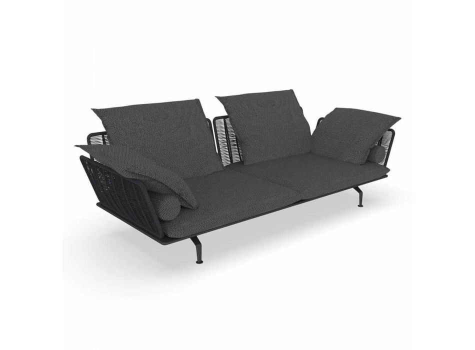 3 Seater Garden Sofa in Padded Fabric and Aluminum - Cruise Alu Talenti