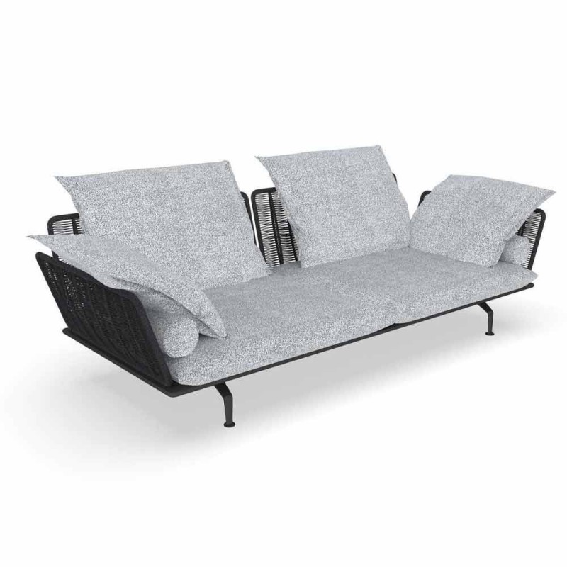 3 Seater Garden Sofa in Padded Fabric and Aluminum - Cruise Alu Talenti