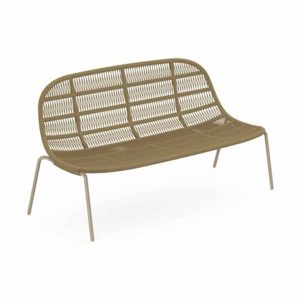 Two Seater Garden Sofa in Aluminum and Fabric - Panama by Talenti