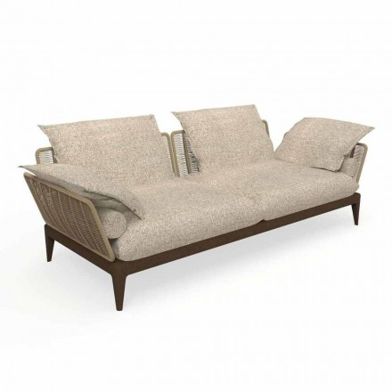 Modern Garden Sofa in Teak Wood and Fabric - Cruise Teak by Talenti