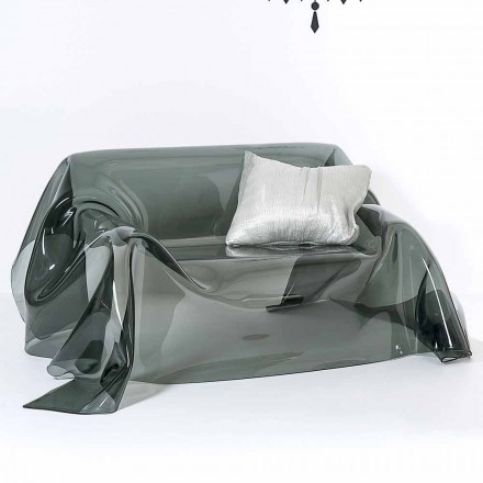 Modern design sofa made of plexiglass Jolly,made in Italy, fumé finish