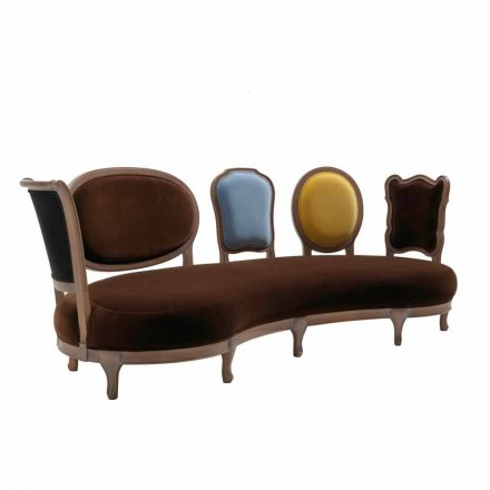 Luxury design sofa Manno, with solid wood structure and 5 backrests