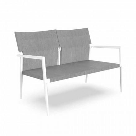 Two Seater Garden Sofa in Aluminum and Textilene - Adam by Talenti