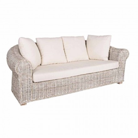 Sofa for Indoor or Indoor Outdoor 3 Places in Rattan Homemotion - Francioso