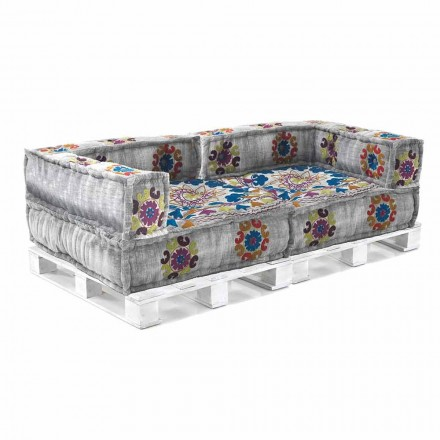 Padded Two-Seater Ethnic Sofa in Patchwork Fabric and Wood - Fiber