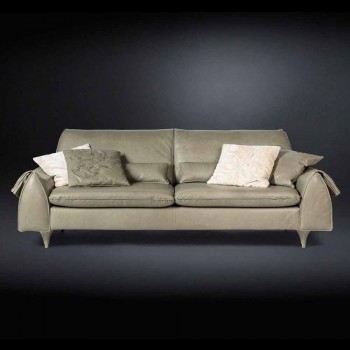 Solid wood and leather sofa with armrests Eve objects leads