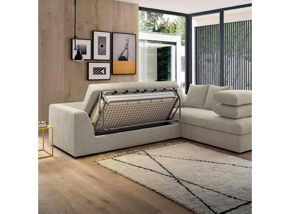Design Corner Sofa Bed in Beige Fabric Made in Italy - Ortensia