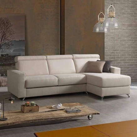 Sofa bed with fabric design peninsula produced in Italy Attilio