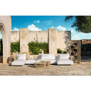Central Modular Sofa for Outdoor in Fabric and Rope - Cliff Decò by Talenti
