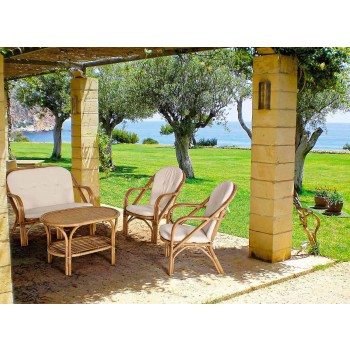 2 Seater Outdoor Sofa for Garden in Rattan White Cushions - Maurizia