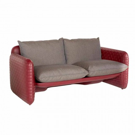 Two-seater outdoor sofa in fabric or leather – Mara Slide