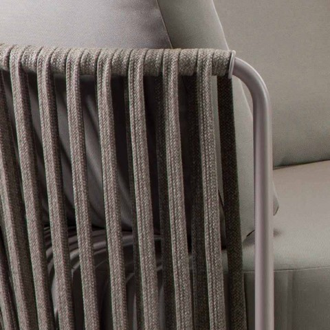 3 Seater Outdoor Sofa in Metal, Rope and Fabric Made in Italy - Mari