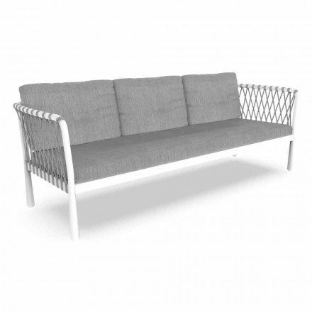 Three Seater Modern Garden Sofa in Aluminum and Fabric - Sofy by Talenti
