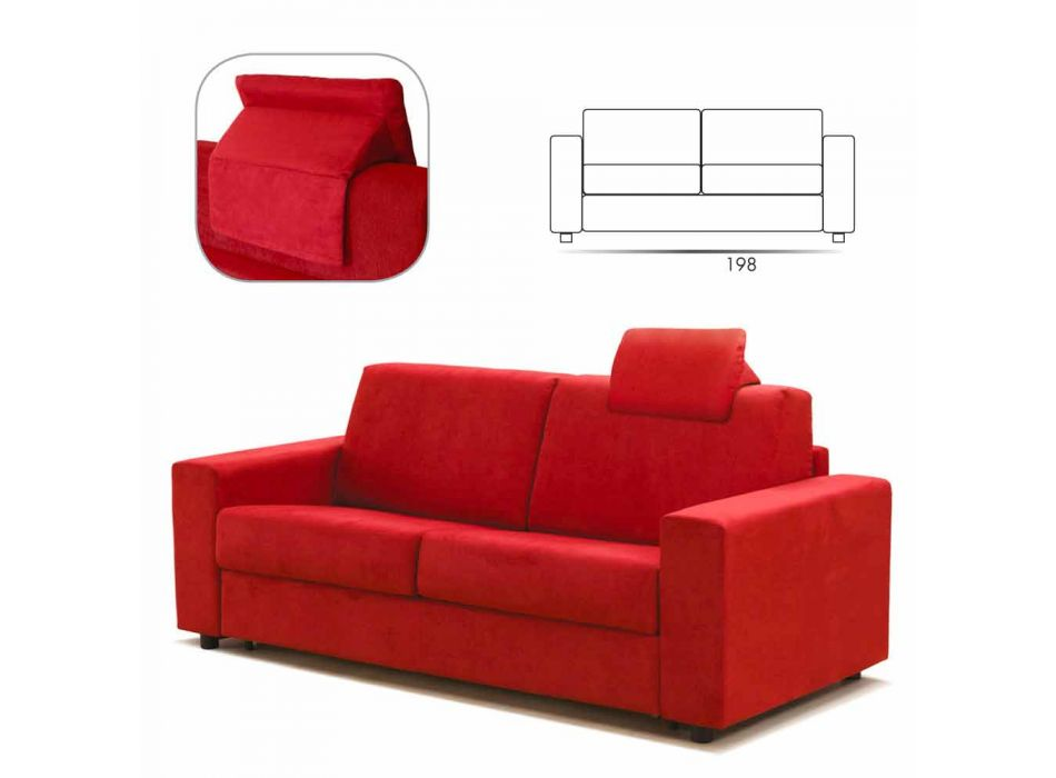 Modern design three-seater sofa in eco-leather / fabric made in Italy Mora