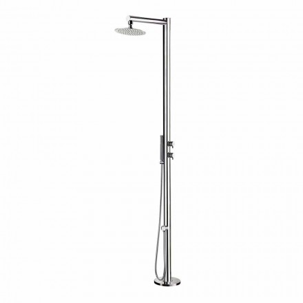 Outdoor Shower in Chromed Stainless Steel with Hand Shower Made in Italy - Modeo