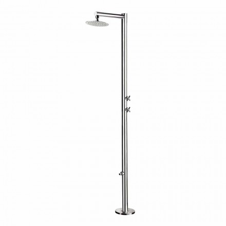 Outdoor shower in chromed stainless steel with foot washer Made in Italy - Modeo