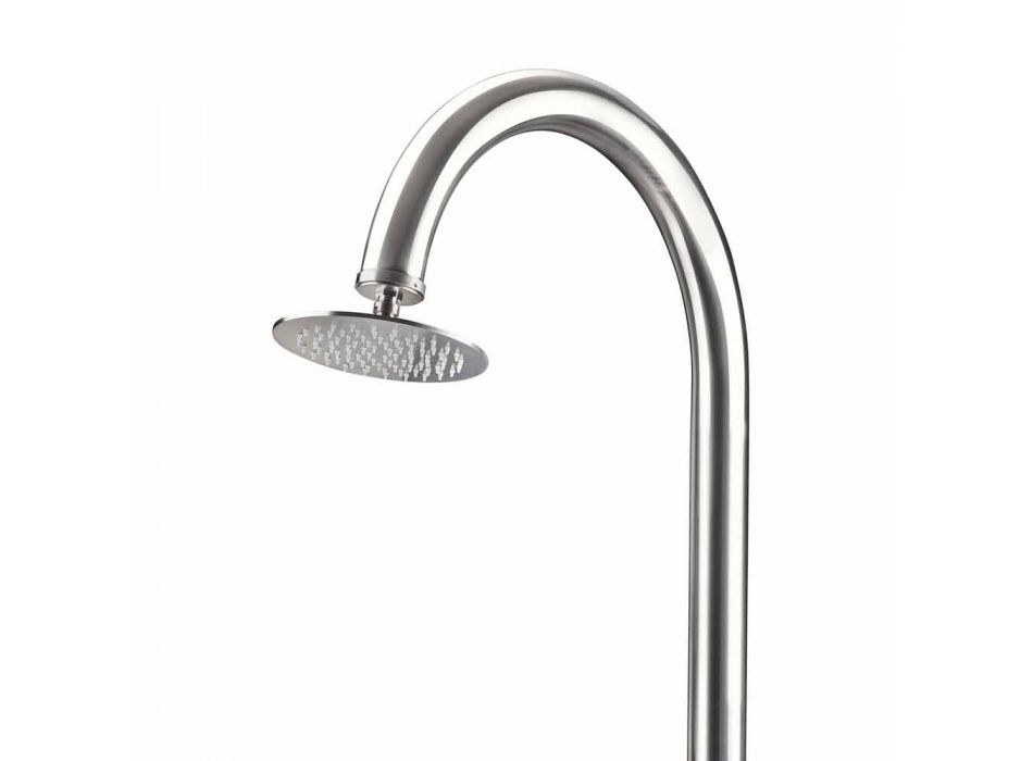 Chromed Stainless Steel Garden Shower with Foot Wash Made in Italy - Marlen