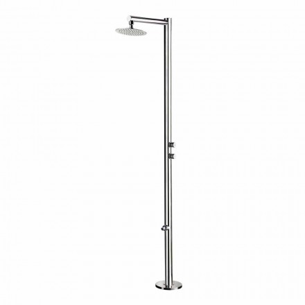 Garden shower in chromed stainless steel with foot washer Made in Italy - Modeo