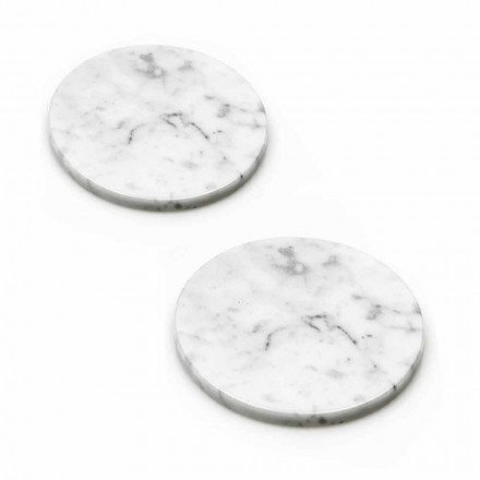 Two Coasters in White and Gray Marble with Cork Made in Italy - Jessa