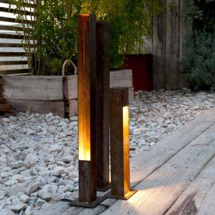 Artisan Outdoor Spotlight in Iron Corten Finish Made in Italy - Sparta