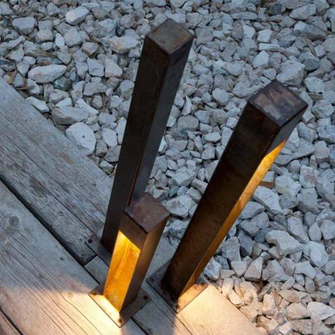 Artisan Outdoor Spotlight in Iron Corten Finish Made in Italy - Sparta