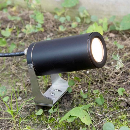 Garden Spotlight in Black Anodized Aluminum with LED Made in Italy - Forla