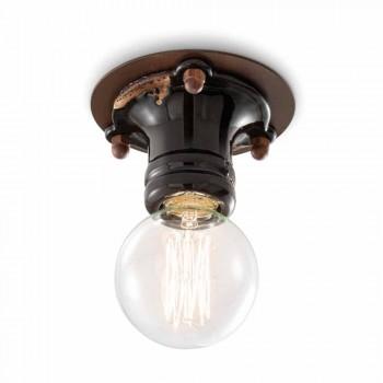 Design ceiling spotlight retro ceramic and metal Cloe Ferroluce