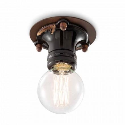 Cloe retró design ceiling spotlight in ceramic and metal by Ferroluce