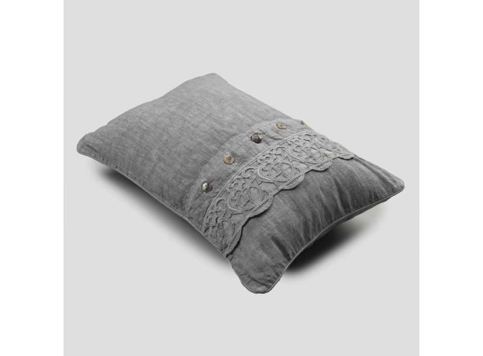 Bed Cushions Pillowcase in Gray Linen with Italian Luxury Synergy Lace - Stego