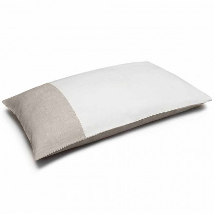 White and Natural Bicolour Linen Pillowcase Made in Italy - Chiana