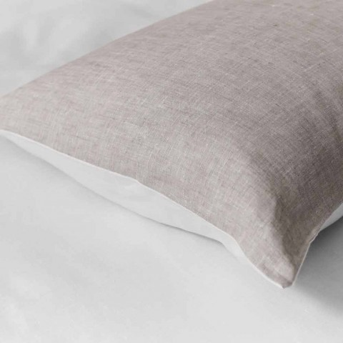 Cream and Natural Two-Tone Linen Cushion Cover Made in Italy - Blessy
