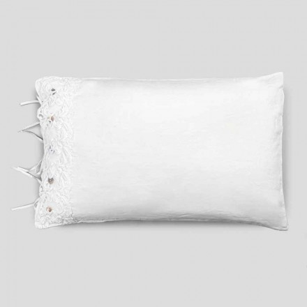 Bed Linen Pillowcase with White Lace, Luxury Design Made in Italy - Kiss