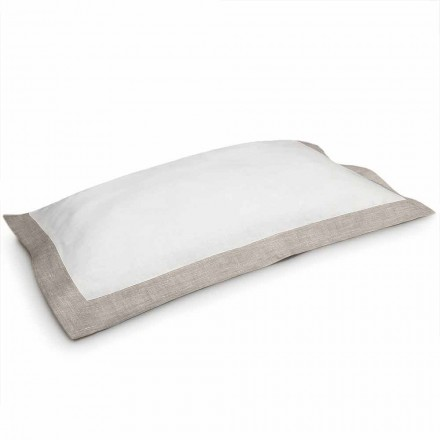 Two-Tone Pillowcase in White and Natural Linen Made in Italy - Poppy
