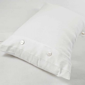 Cream White Pure Linen Bed Cushion Cover Made in Italy - Beach
