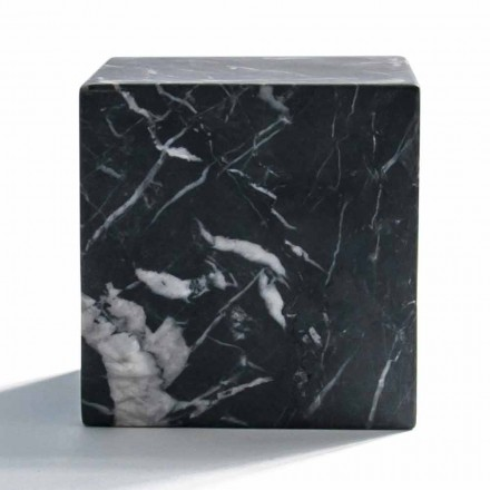 Modern Cube Paperweight in Satin Black Marquinia Marble Made in Italy - Qubino