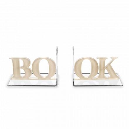 Design Bookends in Beige or White Plexiglass Written Book - Febook