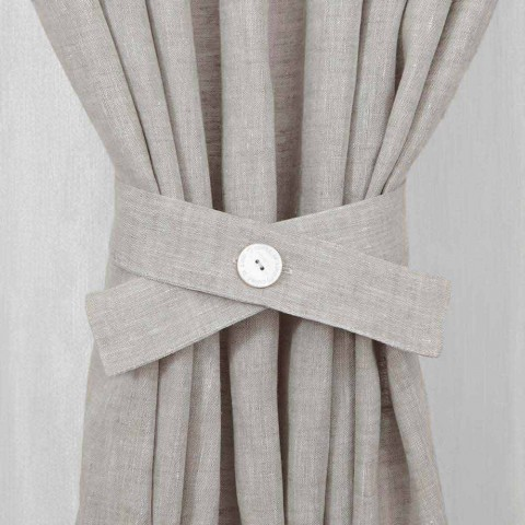 Curtain clips with Button in White or Natural Linen Made in Italy - Beach