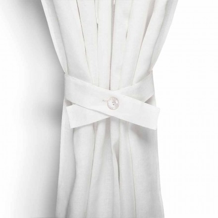 Curtain tiebacks with Button in White or Natural Linen Made in Italy, 6 pieces - Beach