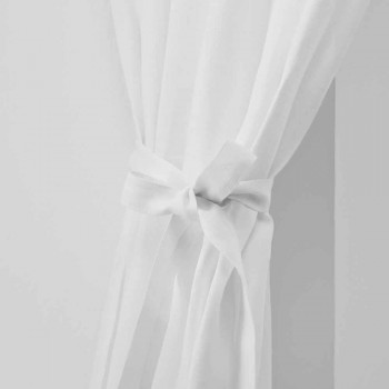 Curtain holders in Pure Cream or Natural White Linen Made in Italy - Daiana