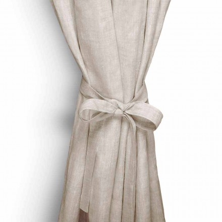 Curtain Tieback in Cream White or Natural Pure Linen Made in Italy - Daiana
