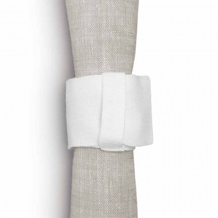 Napkin Ring with loop in Pure Cream White Linen Made in Italy - Blessy