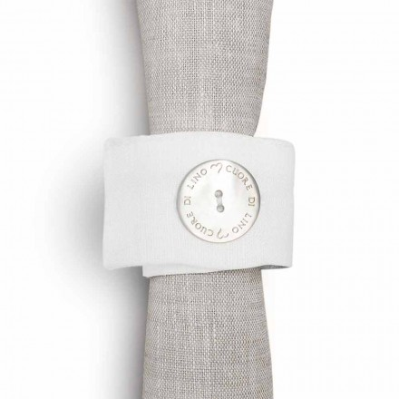 Napkin Ring in White Linen with Mother of Pearl Button Made in Italy, 10 pieces - Beach