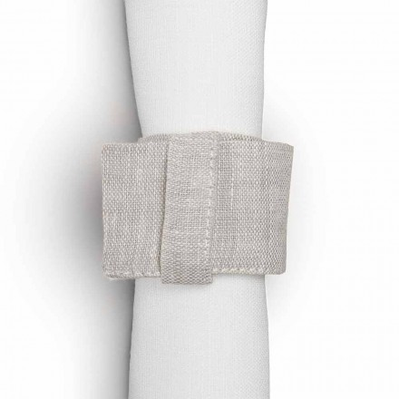 Natural Linen Napkin Ring with Loop Made in Italy, 10 pieces - Blessy
