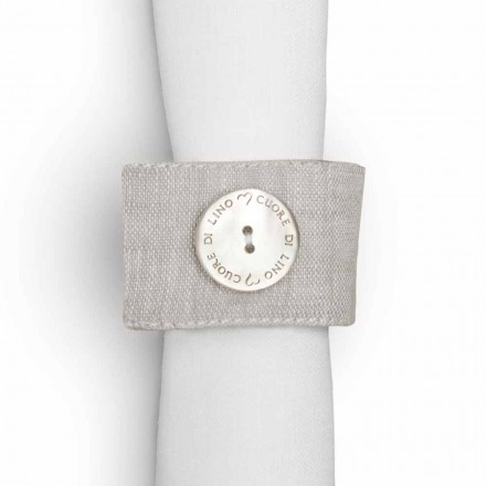 Napkin Ring in Natural Linen with Mother of Pearl Button Made in Italy, 10 pieces - Beach