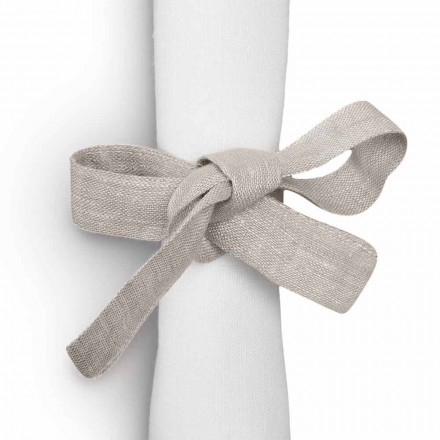 Napkin Ring in Pure Linen in  Natural Color Made in Italy - Daiana