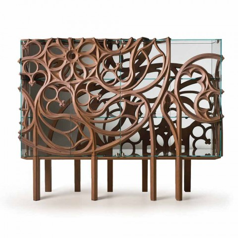 Fratelli Boffi Gothika glass sideboard with oak wood decorations